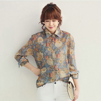 Floral Print Long-Sleeve Collared Button Chiffon Shirt