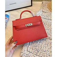 Hermes High Quality Women Leather Handbag Tote Shoulder Bag Crossbody Satchel Red