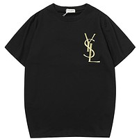 YSL Yves Saint Laurent Women Men Fashion Casual  Short Sleeve