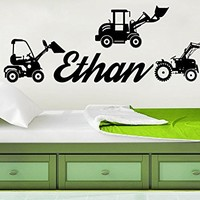 Wall Decal Boy Name Tractor Sticker Personalized Name Nursery Baby Kids Custom Name Vinyl Sticker Bedroom Decals C560