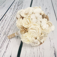 Medium cream rustic wedding BOUQUET Ivory sola Flowers, raw organic cotton Burlap lace, bridal Bridesmaids, sola roses vintage wedding