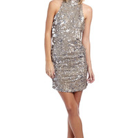 Gold sequin dress with high neck