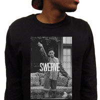 """Fresh Prince of Bel Air Will Smith """"SWERVE"""" Mens Black or White Crewneck Sweatshirt Sweater ***FREE SHIPPING***"""
