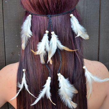 Cream Feather Headband #B1006