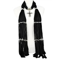 Unique Style Jewelry Scarves for Women with Zinc Alloy Cross Pendant,nl-1803k