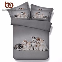 BeddingOutlet 3d Husky Bedding Set Queen Size Cute Animal Dog Print Bed Set For Kids Duvet Cover Gray Bedclothes 3pcs