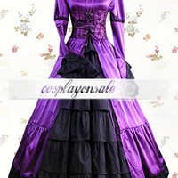 Purple And Black Long Sleeves Stand Collar Bow Satin Cotton Classic Lolita Dress [T110165] - $73.00 : Cosplay, Cosplay Costumes, Lolita Dress, Sweet Lolita