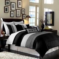 "8 Pieces Black White Grey Luxury Stripe Comforter (104""x92"") Bed-in-a-bag Set California-cal King Size Bedding"