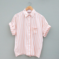 Vintage Peach Candy Stripe Short Sleeve Shirt