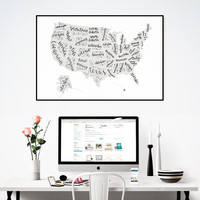 United States of Lettering Print // Calligraphy Map