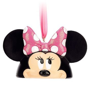 disney parks minnie mouse resin christmas ear hat ornament new with tags