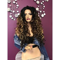 Balayage wavy lace front wig  layered   Soft blended human hair  #11855 Made for it