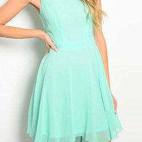 Green Sleeveless Cut-Out Back Asymmetric Skater Dress