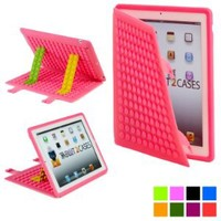Cooper Cases(TM) Blocks Apple iPad 2/3/4 Silicon Folio Case in Pink (Soft Rubbery Exterior, Auto Sleep/Wake Cover, Toy-like DIY Stand Support)