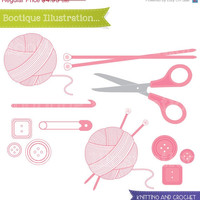 75% OFF Knitting & Crochet Clipart Set. Includes Wool, Scissors, Needles, Buttons and 'Handmade By' lables Clipart. Personal and Commercial*
