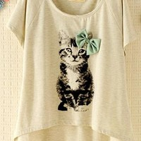 Kitten with Bowtie T-shirt WEX812 from topsales