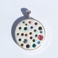 White Crystal Clay with  Rainbow Color Swarovski Crystals in a 1 1/4 Antique Silver Bezel