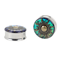 Blue Foil Gold Sun Steel Spool Plug 2 Pack