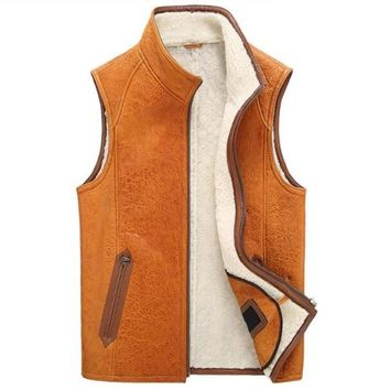 Fur Vest Men Shearling Coat The New Sheepskin Leather Jacket  Motorcycle Outerwear Thick Vest TJ46