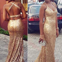 Gorgeous Mermaid Prom Dresses 2016 Sexy Backless Gold Sequined Floor Length Evening Gown Plus Size Formal Dresses Hot Sales