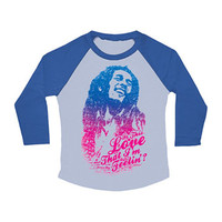Bob Marley  Is This Love Girls Jr Raglan Long Sleeve Blue
