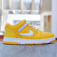 Nike SB Air Force 2 x Supreme Fashion Women Men Casual Running Sport Low Help Shoes Yellow I-XYXY-FTQ
