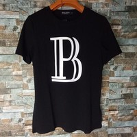 """Balmain"" Unisex Simple Letter Print Cotton T-shirt Couple Short Sleeve Casual Top Tee"