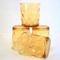 Hazel Atlas sunny amber topaz golden yellow capri optic dot pattern set four drinking glasses 1960s Retro Mid Century juice, rocks, cocktail