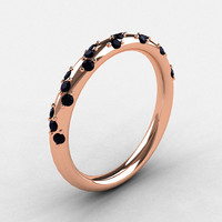 Reserved for Marissa - French Bridal 14K Rose Gold Black Diamond Wedding Band R185B-18KRGBD