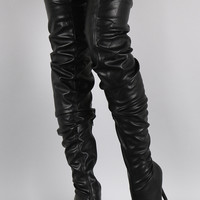 Ruched Pointed Toe Over-The-Knee Stiletto Boots