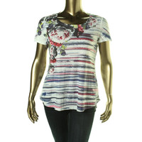 Style & Co. Womens Sublimation Short Sleeves Pullover Top