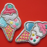 2 pcs Iron on Embroidered Patch Ice Cream Cones 1-3/4 inch