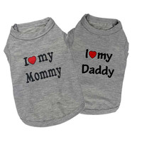 Hot Selling Summer Dog Vest Shirt Clothes Coat Pet Cat Puppy 100%Cotton Vests I LOVE MY DADDY MOMMY Clothing For Dogs Costumes