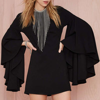 Black Cascading Bell Sleeves Dress