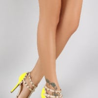 Women's Wild Diva Lounge Studded Straps Neon Pointy Toe Pump