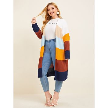 SHEIN Plus Ribbed Knit Colorblock Cardigan