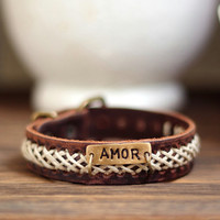 AMOR Personalized Jewelry ,Custom hand stamped bracelet, Personalized Leather Cuff Bracelet,Personalized Leather Bracelet