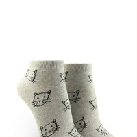 Kitten Graphic Ankle Socks