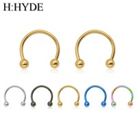 H:HYDE 2018 hot sell 1PCS Classic Cute Open Hoop Stainless C Clip Steel Nose Ring Earrings Body Piercing for women Body Jewelry
