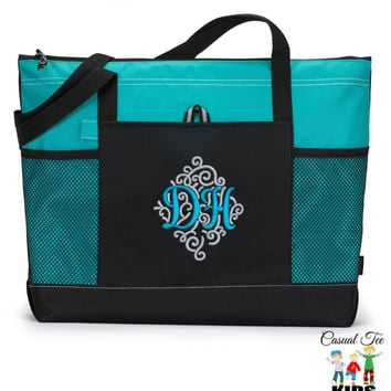 Monogrammed Zippered Tote Bag with Mesh Pockets, Diaper Bag, Beach Bag, Bridesmaid Bag