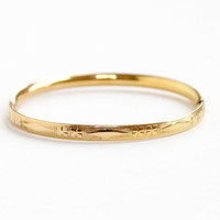 Vintage 12k Yellow Gold Filled Child's Bracelet - Art Deco Hinged Small Bangle Flower Motif Jewelry Hallmarked HFB, H.F. Barrows Co