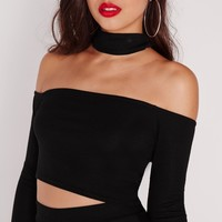 Missguided - Choker Ribbed Crop Top Black
