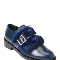 Blue Real Fur Leather Loafers