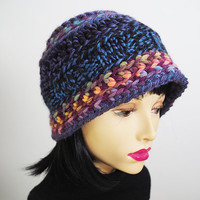 Cyber Monday , Multicolor cloche , Chunky knit hat , Blue crochet beanie , Fashion knit hat , Ready to ship , Woman knit hat , Teen girl hat