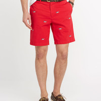 Embroidered Whale Flag Summer Twill Club Shorts