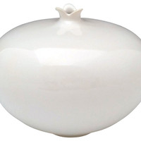 Clay Small Pomegrante Vase, White, Other Lifestyle Accessories