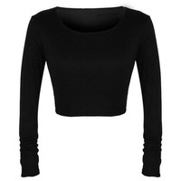 Tops and Tees T-Shirt WEIXINBUY Hot Selling Autumn Fashion Sexy Women Crop Top Long Sleeve Clubwear Shirts  Tees Cropped T-shirt Short Style AT_60_4 AT_60_4