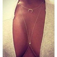 Fashion crystal rhinestone moon body chain necklace gold plated body chain jewelry for women girls ST0007