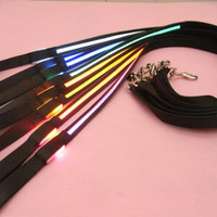 Pets Dog Safety Collar 8 Colors LED Leash Rope Belt Flashing Harness Lead Light Black Nylon