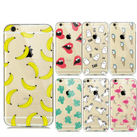 Soft Transparent Fruit Banana Unicorn Lips Clear Case Cover For Iphone 6s 6 5s 5